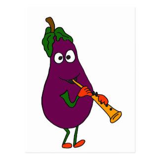 XX- Eggplant Playing Clarinet Cartoon Postcard