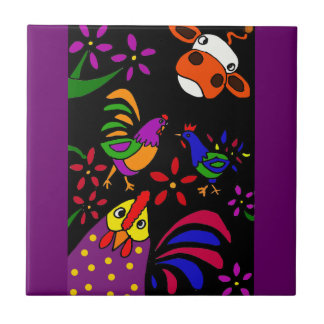 XX- Folk Art Farm Animals Ceramic Tile