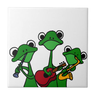 XX- Frogs Playing Music Cartoon Small Square Tile