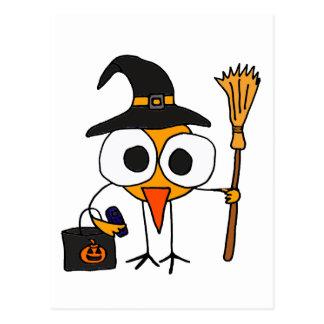 XX- Funny Bird Dressed as Witch Halloween Cartoon Postcard