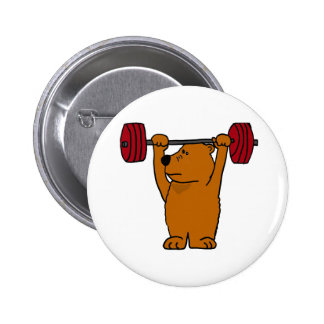 XX- Funny Brown Bear Weight Lifting 6 Cm Round Badge