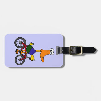 XX- Funny Duck Riding a Bicycle Design Luggage Tag