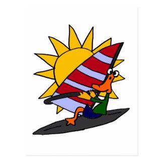 XX- Funny Duck Windsurfing Cartoon Post Cards