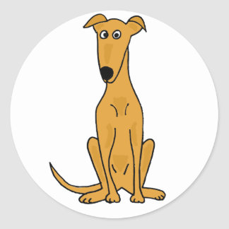 XX- Funny Greyhound Dog Cartoon Classic Round Sticker