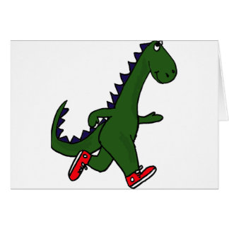 XX- Funny jogging dinosaur with Red Sneakers Card
