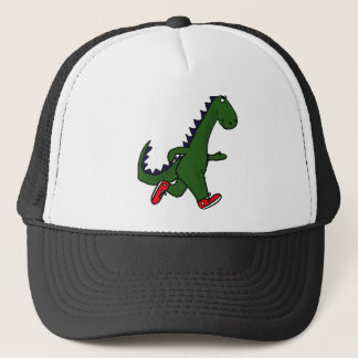 XX- Funny jogging dinosaur with Red Sneakers Trucker Hat