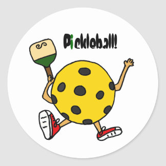 XX- Funny Pickleball Character Classic Round Sticker