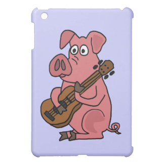 XX- Funny Pig Playing Guitar Cartoon iPad Mini Cases