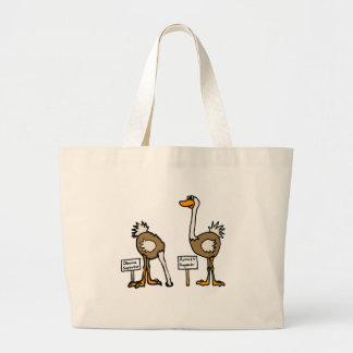 XX- Funny Political Ostriches Cartoon Jumbo Tote Bag
