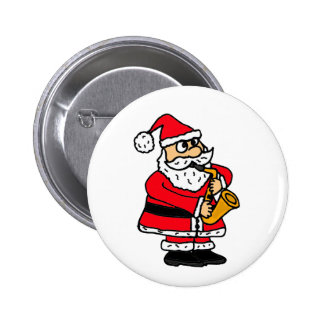 XX- Funny Santa Claus Playing the Saxophone 6 Cm Round Badge