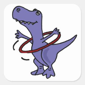 XX- Funny T-rex Dinosaur Using Hula Hoop Square Sticker
