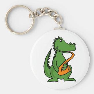 XX- Gator Playing Saxophone Key Ring
