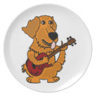XX- Golden Retriever Dog Playing Guitar Plate