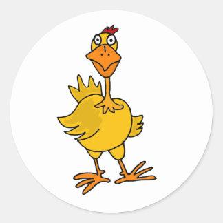 XX- Hilarious Goofy Chicken Classic Round Sticker