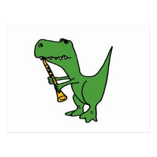 XX- Hilarious T-rex Dinosaur Playing the Clarinet Postcard