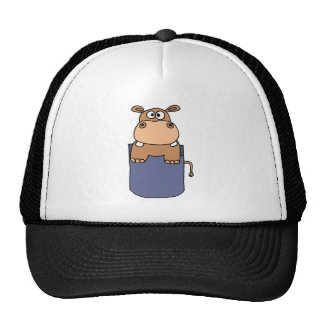 XX- Hippo in a Pocket Cartoon Cap