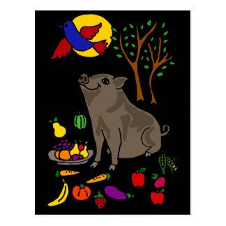 XX- Pot Bellied Pig and Fruit Folk Art Design Postcard