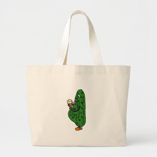 XX- Pregnant Pickle Eating Ice Cream Cartoon Tote Bags