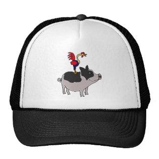 XX- Rooster on a Pot Bellied Pig Cartoon Cap