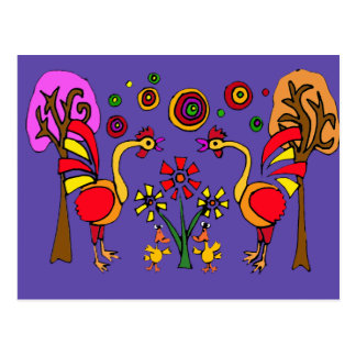 XX- Roosters and Flowers Folk Art Post Cards