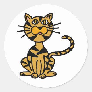 XX- Striped Cat Cartoon Classic Round Sticker
