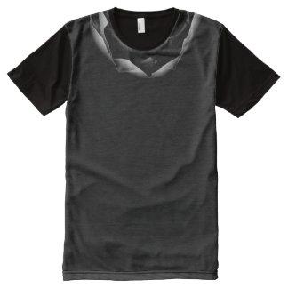XXL Black Rose Petals Accent Collar on Black All-Over Print T-Shirt