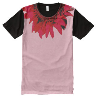 XXL Red Sunflower accenting black and pink All-Over Print T-Shirt