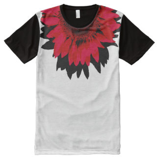 XXL Red Sunflower Black and White All-Over Print T-Shirt