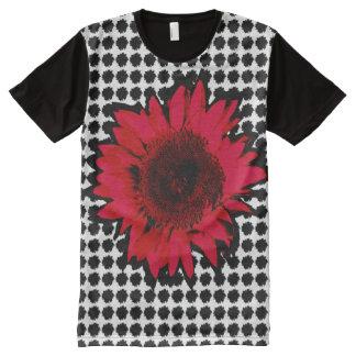 XXL Red Sunflower on Black Sunflower Motif All-Over Print T-Shirt