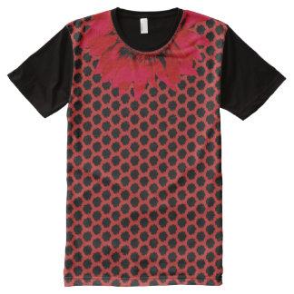 XXL Red Sunflower on Black Sunflower Motif on Red All-Over Print T-Shirt