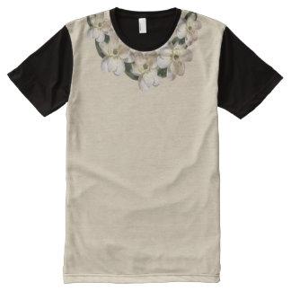 XXL Sepia Magnolia Accent Collar on Tan & Black All-Over Print T-Shirt