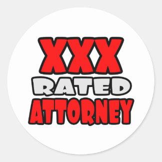 XXX Rated Attorney Round Sticker