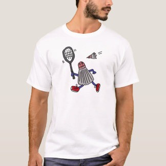 XY- Badminton Birdie Playing Badminton Cartoon T-Shirt
