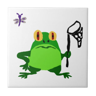 XY- Funny Frog and Dragonfly Cartoon Ceramic Tile