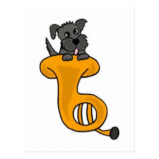 XY- Grey Puppy Dog in a Tuba cartoon Postcard