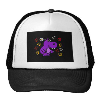 XY- Purple Hippo and Daisies Art Hat