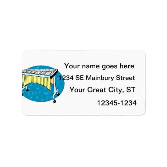 Xylophone graphic with blue background address label