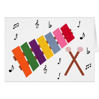 Xylophone Multicolored Musical Instrument Cartoon Greeting Card