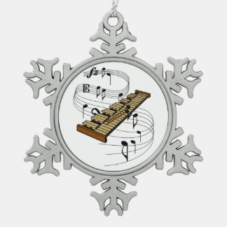 Xylophone Snowflake Pewter Christmas Ornament