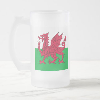 Y Ddraig Goch: Welsh Flag Beer Glass Frosted Glass Beer Mug