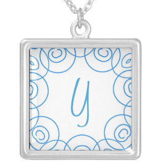 """""""Y"""" initial in Blue Scroll on White, Fun Design Necklace"""