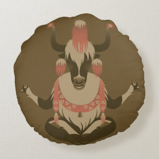 Y is for Tibet Yak Round Cushion