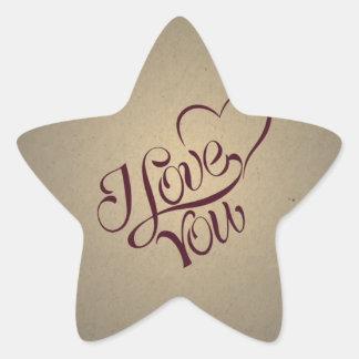 Y Love You Vintage Message Design Star Stickers