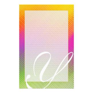 "Y Monogram ""Sunshine Ripples"" Fine Lined Customised Stationery"