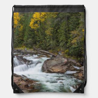 Yaak Falls In Autumn In The Kootenai National Cinch Bags