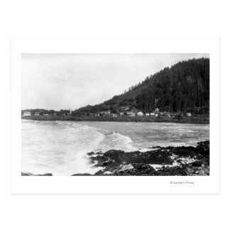 Yachats, Oregon Town View and Ocean Photograph Postcard