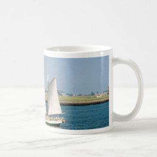 Yacht in Boston Harbor Basic White Mug
