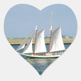 Yacht in Boston Harbor Heart Sticker