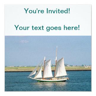 Yacht in Boston Harbor 13 Cm X 13 Cm Square Invitation Card