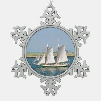 Yacht in Boston Harbor Pewter Snowflake Decoration